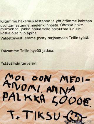 hyvä työpaikkahakemus esimerkki Savonlinna