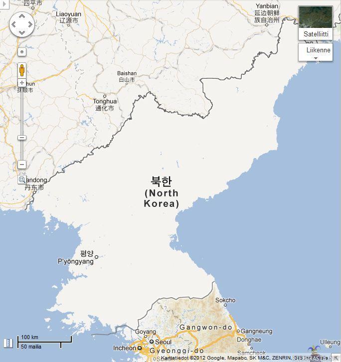 Pohjois Korea Kartalla