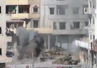 Syyrialainen tankki saa osuman