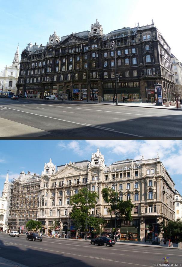 Vanhan rakennuksen seinien pesu budapestissa