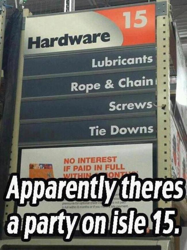 Party on isle 15 - Home Depot