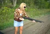 Blond girl and shotgun